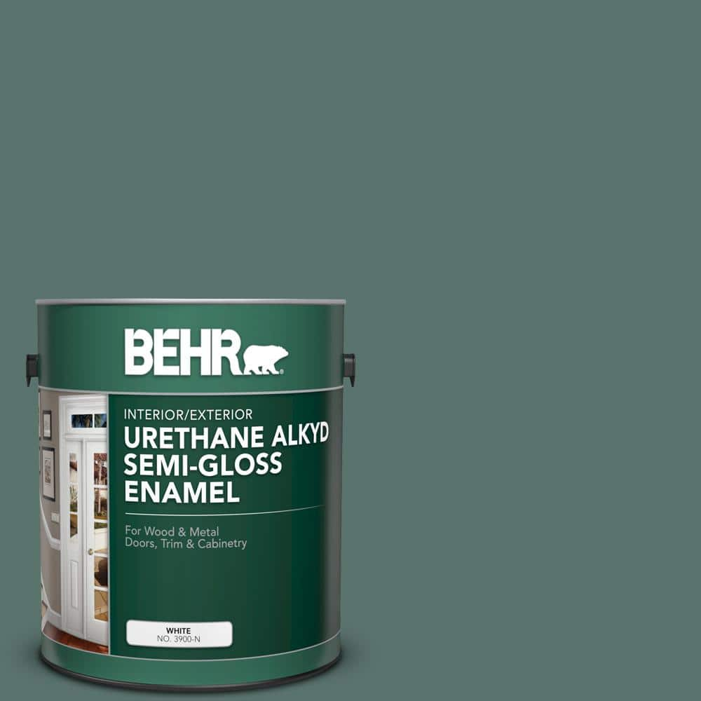 Behr 1 Gal Ppu12 17 Cameroon Green Urethane Alkyd Semi Gloss Enamel Interior Exterior Paint 393001 The Home Depot