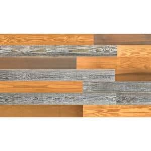 Thermo-treated 1/4 in. x 5 in. x 4 ft. Gold, Brown and Gray Barn Wood Wall Planks (10 sq. ft. per 6 Pack)