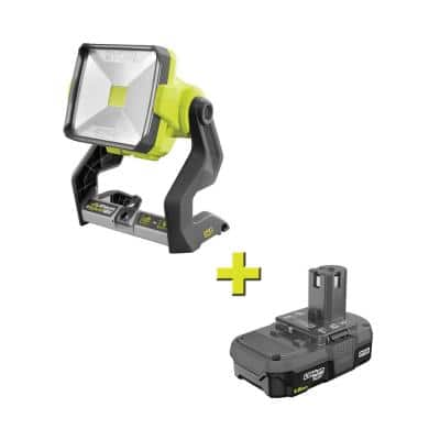 18-Volt ONE+ Cordless Hybrid 20-Watt LED Work Light with 1.5 Ah Compact Lithium-Ion Battery