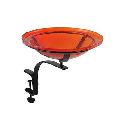 12.5 in. Dia Red Reflective Crackle Glass Birdbath Bowl with Rail Mount Bracket