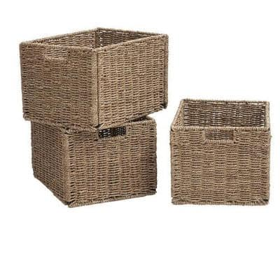 14.75 in. D x 11.75 in. W x 9.5 in. H Natural Recycled Materials Shuttle Basket (Set in 3) Closet System
