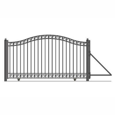 Dublin Style 14 ft. x 6 ft. Black Steel Single Slide Driveway Fence Gate