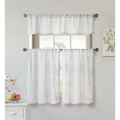 White Floral Rod Pocket Room Darkening Curtain - 58 in. W x 15 in. L  (Set of 2)