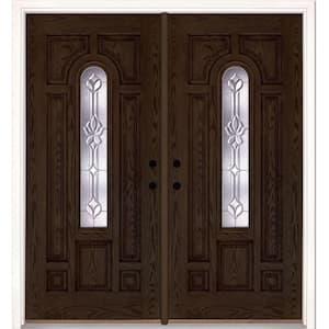 74 in. x 81.625 in. Medina Zinc Center Arch Lite Stained Walnut Oak Right-Hand Fiberglass Double Prehung Front Door