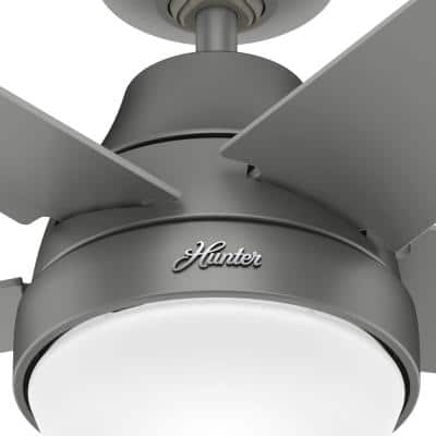 Aerodyne 52 in. Indoor Matte Silver Smart Ceiling Fan with Light Kit and Remote Control