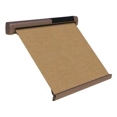 8 ft. Solar Powered Home Window Retractable Smart Awning, Pale Brown Case, Mocha Tweed Fabric