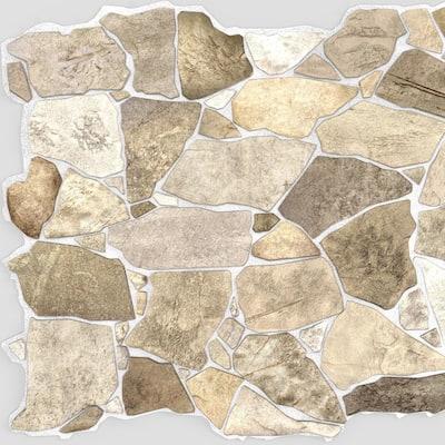 3D Falkirk Renfrew 39 in. x 25 in. Brown Beige Faux Stone PVC Decorative Wall Paneling