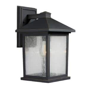 Malone 1-Light Oil Rubbed Bronze Outdoor Rustic Wall Lantern Sconce with Clear Seeded Glass Shade