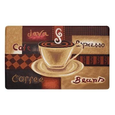 "EXTRA LONG ANTI-FATIGUE PVC KITCHEN FLOOR MAT 18/"" x 47/"" COFFEE CUPS /& BEANS"