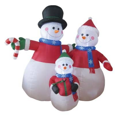 6 ft. Snowman Family Dad with Black Hat, Mom with Red Santa Cap, Child with Green Santa Cap Airblown