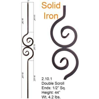 Versatile 44 in. x 0.5 in. Oil Rubbed Copper Double Spiral Solid Wrought Iron Baluster