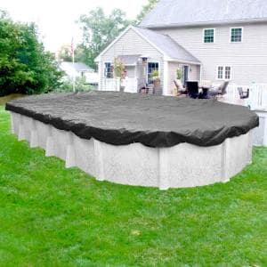 Ultimate 15 ft. x 30 ft. Oval Charcoal Solid Above Ground Winter Pool Cover