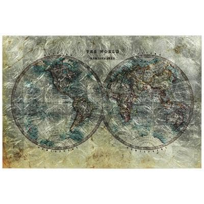 Cartography Unframed World Map Reverse Printed on Tempered Glass with Silver Leaf Wall Art 32 in. x 48 in.