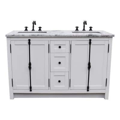 Plantation 55 in. W x 22 in. D Double Bath Vanity in White with Marble Vanity Top in White with White Rectangle Basins