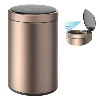 CozyBlock 3.2 Gal. Rose Gold Touchless Motion Sensor Bin Automatic Trash Can, Quiet Soft Close Lid, 12L, IPX4 Waterproof