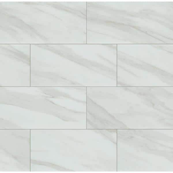 Home Decorators Collection Kolasus White 12 In X 24 In Polished Porcelain Floor And Wall Tile 16 Sq Ft Case Nhdkolwhi1224p The Home Depot