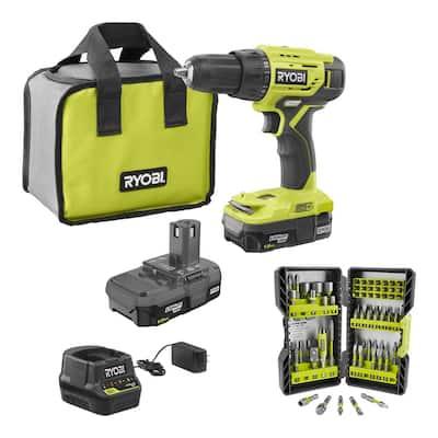 RYOBI ONE+ 18-Volt 1/2-in Drill/Driver Kit w/ (2) 1.5 Ah Batteries, Charger, Bag, and 22-Piece Titanium Drill Bit Kit