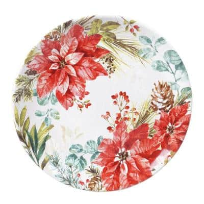 Christmas Story Multicolored Earthenware 13 in. Round Platter