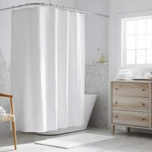 Legends Hotel Border 72 in. White Shower Curtain