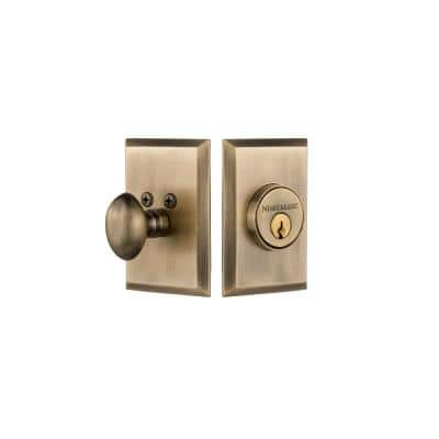 New York Plate 2-3/8 in. Backset Single Cylinder Deadbolt in Antique Brass