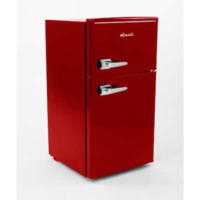 3.0 cu. ft. Retro 2 Door Mini Fridge in Red with Freezer