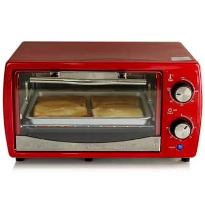 700-Watt 4-Slice Red Electric Toaster Oven with Timer Knob and Tempered Glass Door Cool-Touch Handle, Includes LED Light