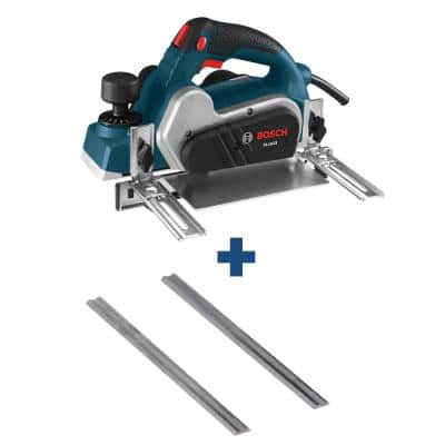 6.5 A 3-1/4in. Corded Planer Kit with Reversible Carbide Blade+3-1/4 in.Tungsten Carbide Woodrazor Planer Blades(2-Pack)