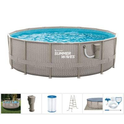 Light Basketweave 15 ft. Round 48 in. D Elite Metal Frame Pool Package with Skimmer Plus Filter Pump
