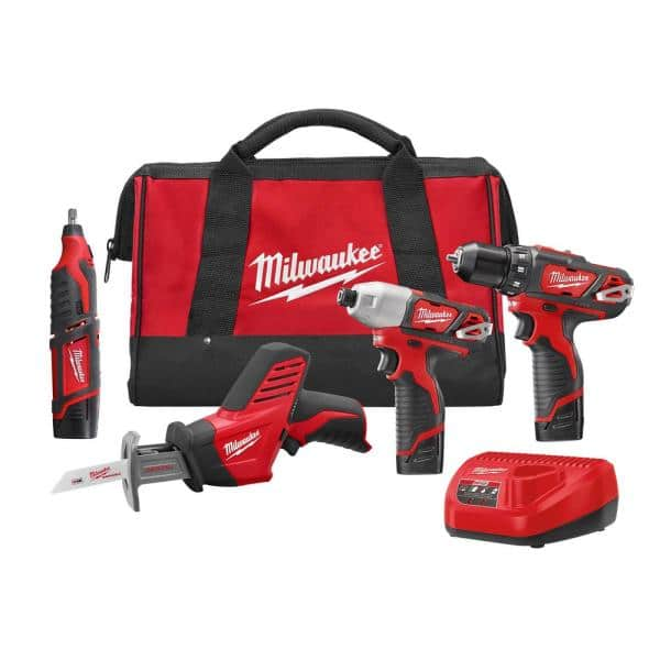 Milwaukee M12 12-Volt Lithium-Ion Cordless Combo Tool Kit (4-Tool) with (3) 1.5Ah Batteries, (1) Charger, (1) Tool Bag   The Home Depot