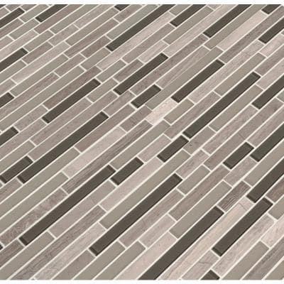 Modello Grigio Interlocking 12 in. x 12 in. x 6 mm Glass/Stone Mesh-Mounted Mosaic Tile (1 sq. ft.)