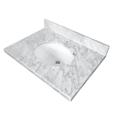 Templeton 30 in. x 22 in. Carrara Marble Vanity Top with Oval Sink in Carrara Marble