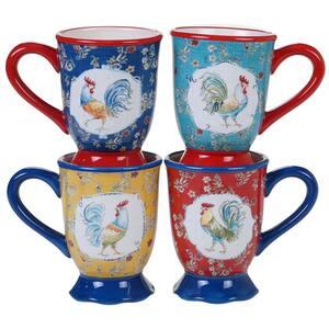 Morning Bloom 4-Piece Seasonal Multicolored Earthenware 16 oz. Mug Set (Service for 4)