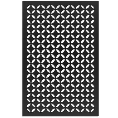 Moorish Circle 4 ft. x 32 in. Black Vinyl Decorative Screen Panel