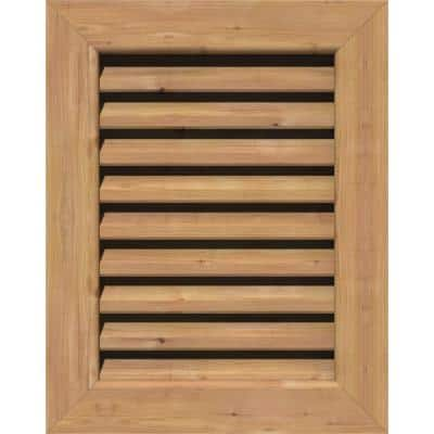 17 in. x 23 in. Rectangular Unfinished Smooth Western Red Cedar Wood Paintable Gable Louver Vent