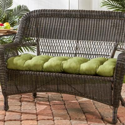Solid Summerside Green Rectangle Outdoor Bench/Swing Cushion