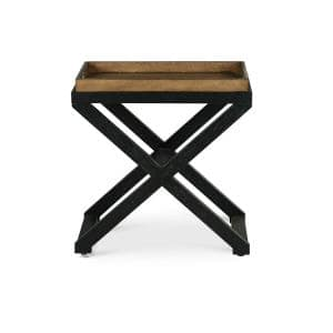 Topeka 24 in. W Brown and Ebony Chairside Table