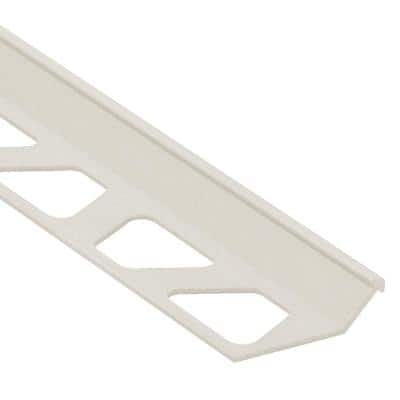 Finec Ivory Textured Color-Coated Aluminum 1/2 in. x 8 ft. 2-1/2 in. Metal Tile Edging Trim