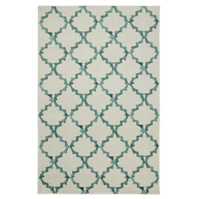 Surf Fret Aqua 8 ft. x 10 ft. Geometric Area Rug