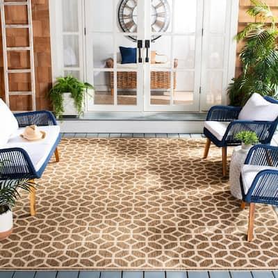 Beach House Beige/Cream 8 ft. x 10 ft. Geometric Indoor/Outdoor Area Rug