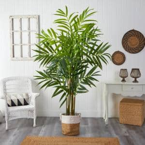 8 ft. Green King Palm Artificial Tree with 12 Bendable Branches in Handmade Natural Jute and Cotton Planter