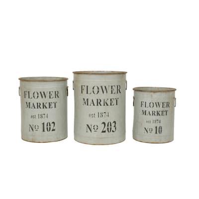 Metal Flower Market Buckets with Handles (Set of 3)