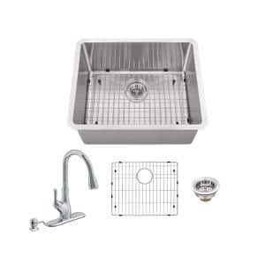 All-In-One Undermount 16-Gauge Stainless Steel 23 in. 0-Hole Single Bowl Radius Bar Sink with Gooseneck Kitchen Faucet