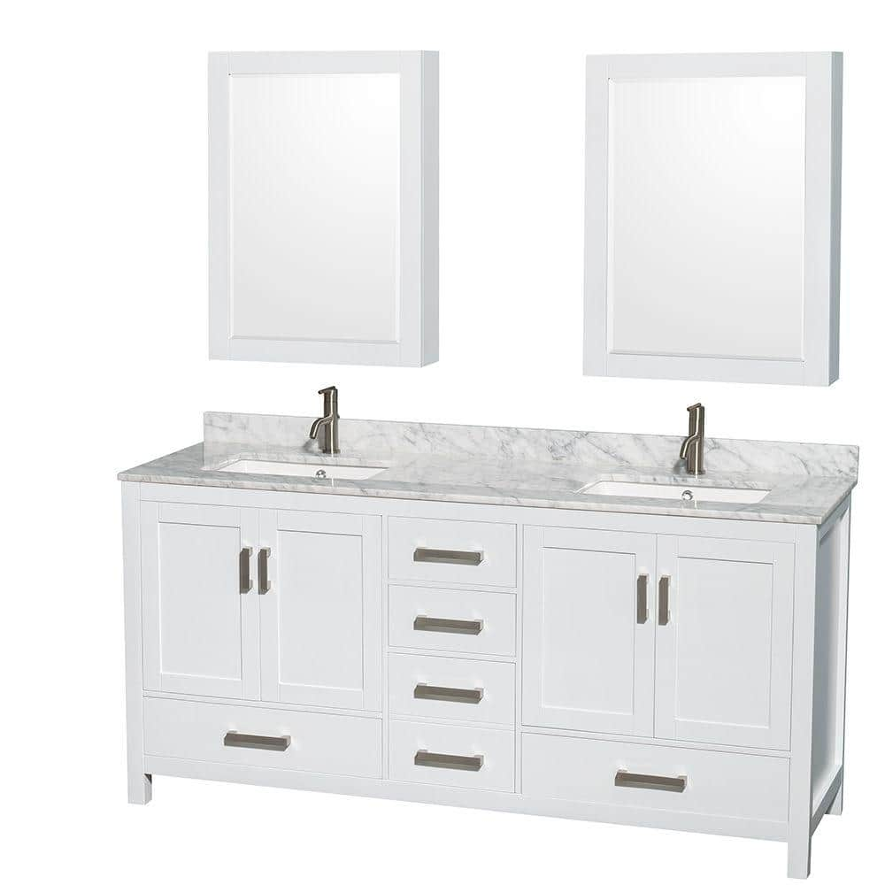 Wyndham Collection Sheffield 72 In Double Vanity In White With Marble Vanity Top In Carrara White And Medicine Cabinets Wcs141472dwhcmunsmed The Home Depot