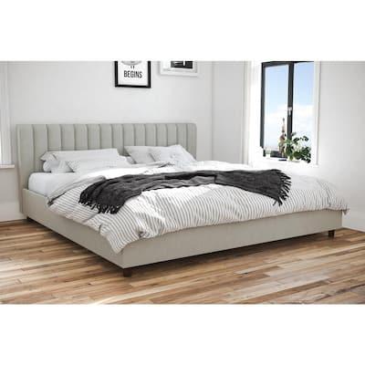 Brittany Light Gray Linen King Upholstered Bed