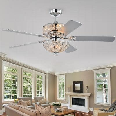 Catalina 52 in. Chrome Remote Controlled Ceiling Fan with Light Kit