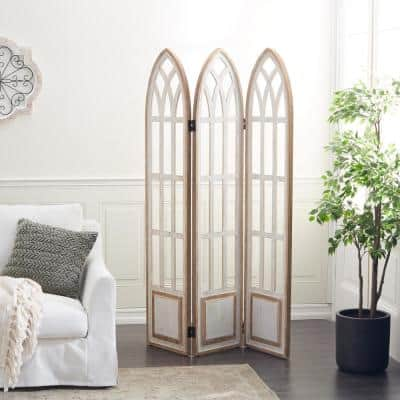 72 in. White Farmhouse Wood Room Divider Screen