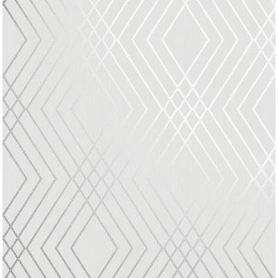 Shard Silver Trellis Silver Wallpaper Sample