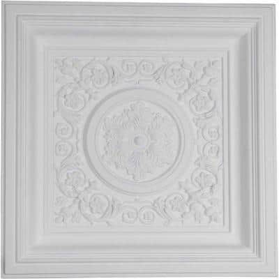 Nicole 2 ft. x 2 ft. Glue Up or Nail Up Polyurethane Ceiling Tile in White