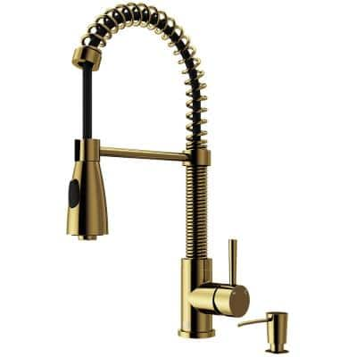 Brant Single-Handle Pull-Down Sprayer Kitchen Faucet with Soap Dispenser in Matte Gold
