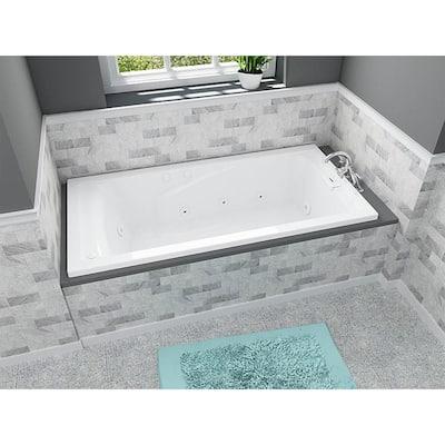 EverClean 72 in. Acrylic Rectangular Drop-in Whirlpool Bathtub in White